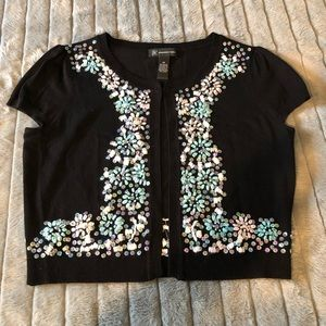 Inc short sleeve cropped sweater